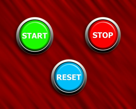 start stop and reset buttons on black & red texture Stock Photo - 10982965