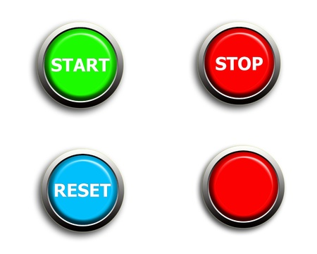 start stop reset and blank buttons Stock Photo - 10982962