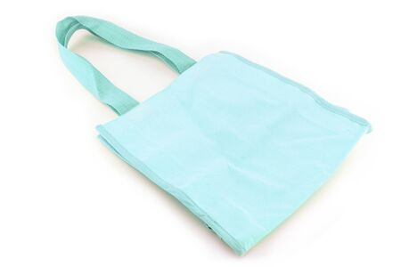 reusable: Cyan cotton bag on white isolated background Stock Photo