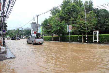 CHIANG MAI THAILAND - SEPTEMBER 29 : Flooding in Chiangmai city.Flooding of buildings near the Ping River on September 29,2011 in Chiangmai, Thailand Stock Photo - 11016897