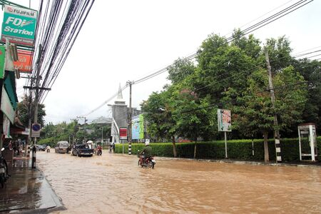 CHIANG MAI THAILAND - SEPTEMBER 29 : Flooding in Chiangmai city.Flooding of buildings near the Ping River on September 29,2011 in Chiangmai, Thailand