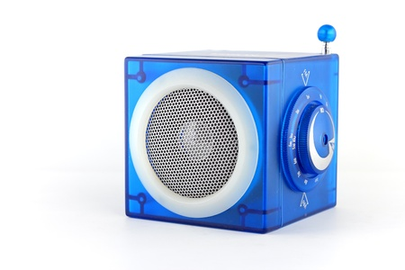 Blue radio cube box photo