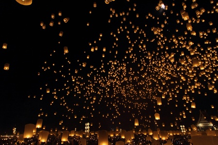 candle flame: Floating lantern Festival in Chiangmai, Thailand