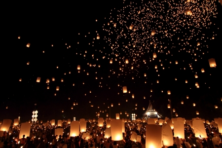 hot air balloons festival: Floating lantern Festival in Chiangmai, Thailand Stock Photo
