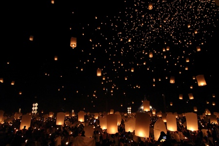Floating lantern Festival in Chiangmai, Thailand photo