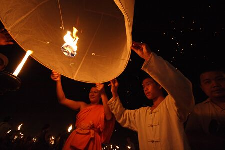 CHIANGMAI, THAILAND - OCTOBER 11:Thai monk floating lamp . OCTOBER 29,2011 in TUDONGKASATARN, Chiangmai, Thailand.
