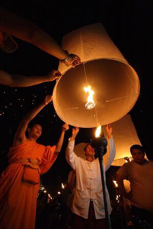 yeepeng: CHIANGMAI, THAILAND - OCTOBER 11:Thai monk floating lamp . OCTOBER 29,2011 in TUDONGKASATARN, Chiangmai, Thailand.