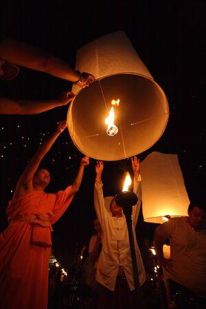 CHIANGMAI, THAILAND - OCTOBER 11:Thai monk floating lamp . OCTOBER 29,2011 in TUDONGKASATARN, Chiangmai, Thailand.