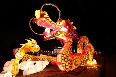 colorful lantern: Beautiful illuminated Dragon Lantern in Chinese Happy new year Lantern Festival or Yee Peng Festival, Chiangmai Thailand Editorial