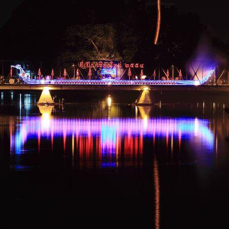 Light Boat in Lantern Festival or Yee Peng Festival, Chiangmai Thailand.