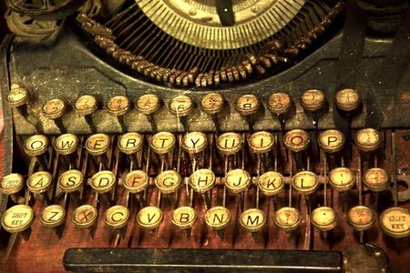 the author: Ancient typewriter keys close up retro Style. Stock Photo