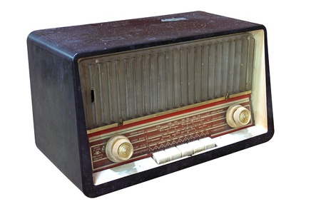 vintage radio isolated on a white background photo