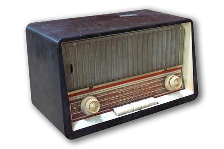 transistor: Vintage Radio aislado en un fondo blanco Foto de archivo