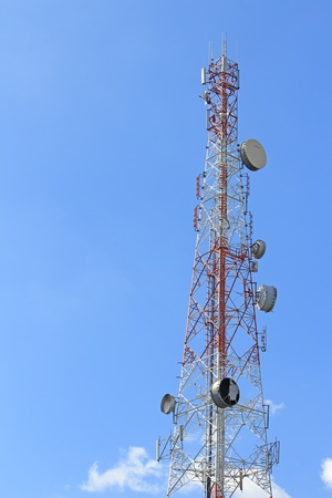 Tower of communications with their telecommunications antennas photo
