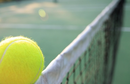 Tennis ball on net photo