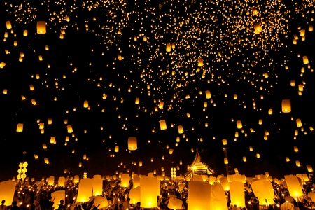 Yee Peng Firework Festival in Chiangmai Thailand  Stock Photo - 11647528