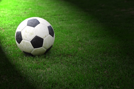 fun grass: Football on green grass with spot light Stock Photo