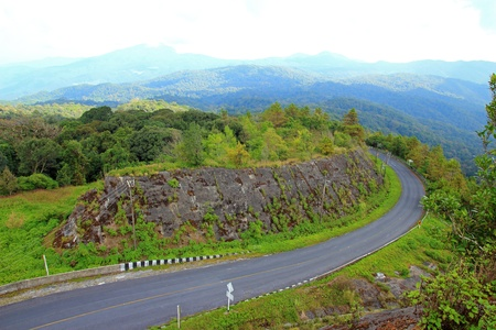 Road Curves on a mountain, Inthanon Chiang Mai, Thailand photo