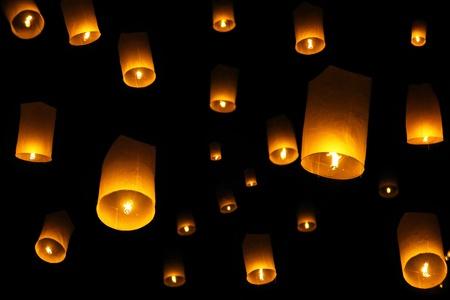 chinese lanterns: Yee Peng Firework Festival in Chiangmai Thailand