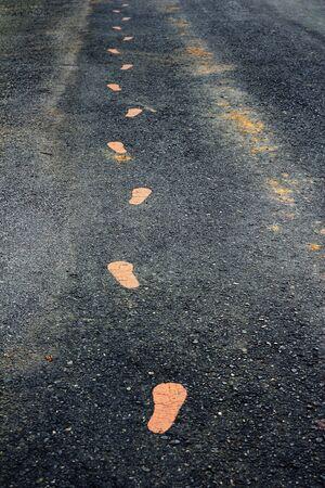 Yellow Footmarks On Walking Track  photo