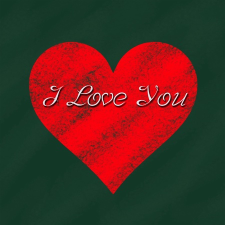 I love you in heart sign on blackboard photo