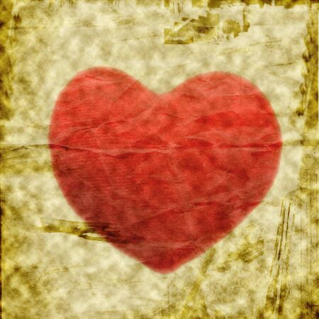 Old grunge crumpled blank paper withe red heart photo