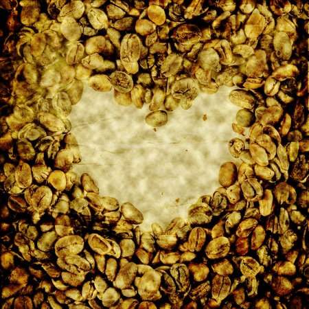 Old grunge crumpled love coffee bean  photo