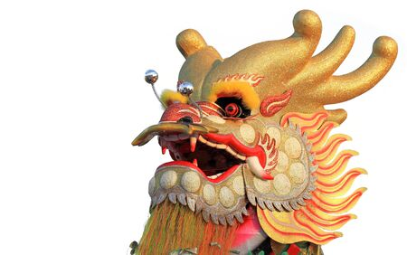 Head of a golden dragon on white isolated background, Chinese New Year Decoration. photo