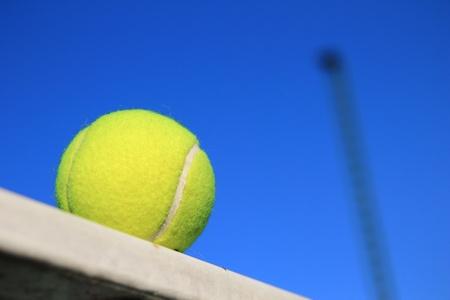 ball point: Tennis ball and blue sky