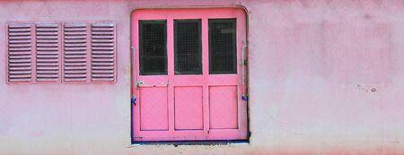 Pink grunge door and window photo