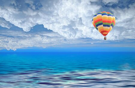 inflate: Colorful balloon in the blue sky
