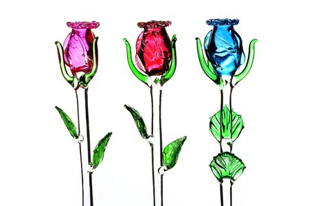 Colorful glass rose on white background Stock Photo - 12233255