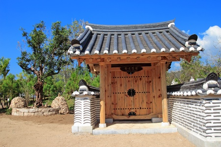antique wooden door korean style photo