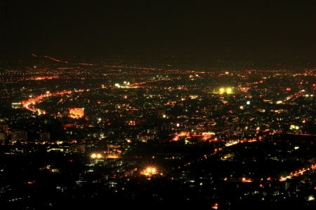 bird's eye view: Bird eye view above Chiangmai city in night, Thailand.