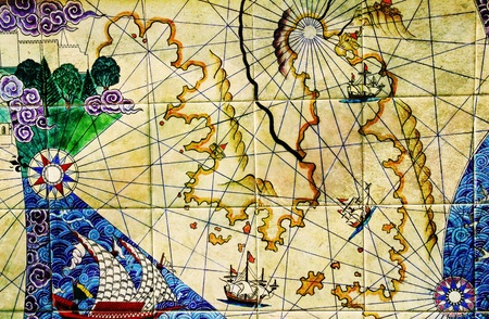 ancient map: old nautical chart.