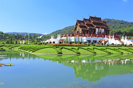 Ho kham luang northern thai style building in royal flora expo, Chiangmai Thailand photo