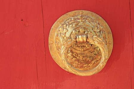 old golden door handle knocker Stock Photo - 12601991
