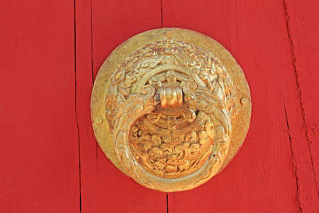 old golden door handle knocker Stock Photo - 12601992