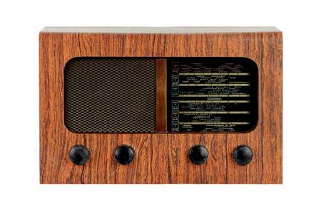 grungy retro wooden radio on  isolated white background Stock Photo