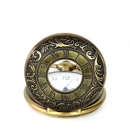 artifact: vintage pocket clock on white background