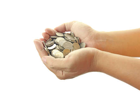 hands holding coins  photo