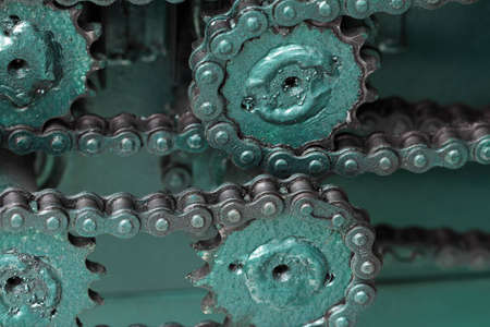Close up of chain gears photo