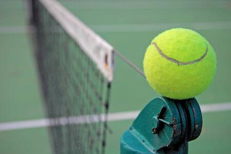 Tennis ball on a tennis court Stock Photo - 12602485