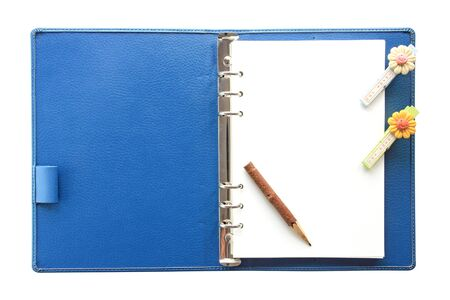 Blue Notebook with pencil  photo