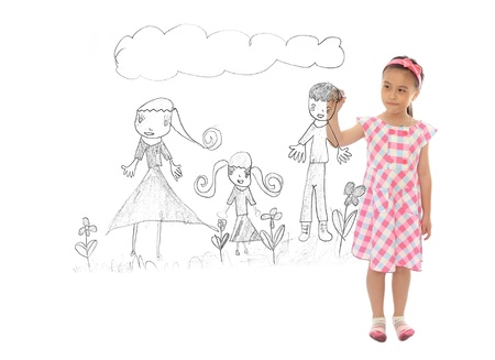 Adorable girl drawing her family photo