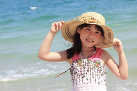 Asian young girl on the beach photo