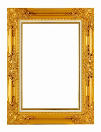 old antique golden frame isolated on white background  photo