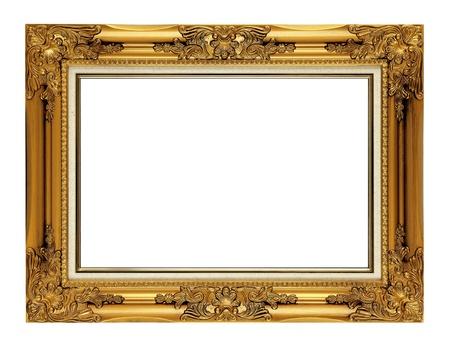 gild: old antique golden frame isolated on white background  Stock Photo