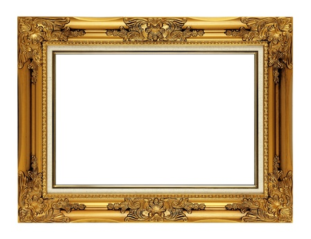 gild: vecchia cornice antica d'oro isolato su sfondo bianco Archivio Fotografico