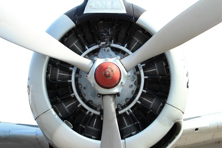 9 cylinder Radial Engine of old airplane with cliping path photo